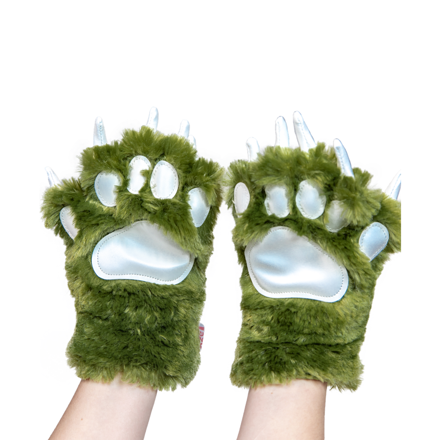 Green Dino Paw Mitts, Adult Large