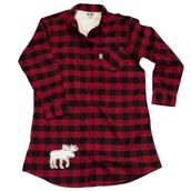 LazyOne Womens Moose Plaid Flannel Nightshirt