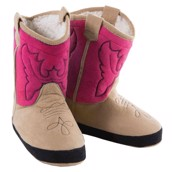 LazyOne Womens Pink Cowboy Bootie Slippers
