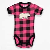 LazyOne Girls Bear Plaid Applique Babygrow Vest