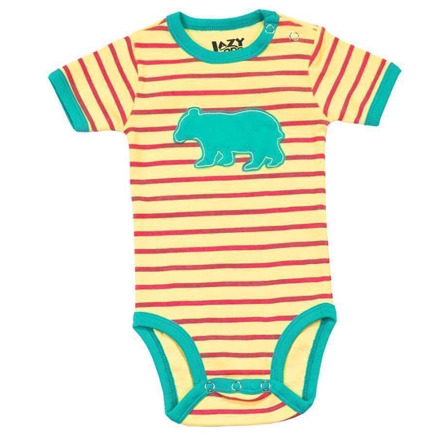 LazyOne Girls Bear Stripe Babygrow Vest