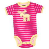 LazyOne Girls Moose Stripe Babygrow Vest