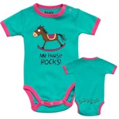 LazyOne Girls My Horse Rocks Babygrow Vest