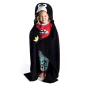LazyOne Hooded Critter Fleece Blanket Penguin
