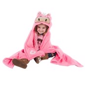 LazyOne Hooded Critter Fleece Blanket Pink Horse