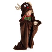 LazyOne Hooded Critter Fleece Blanket Reindeer
