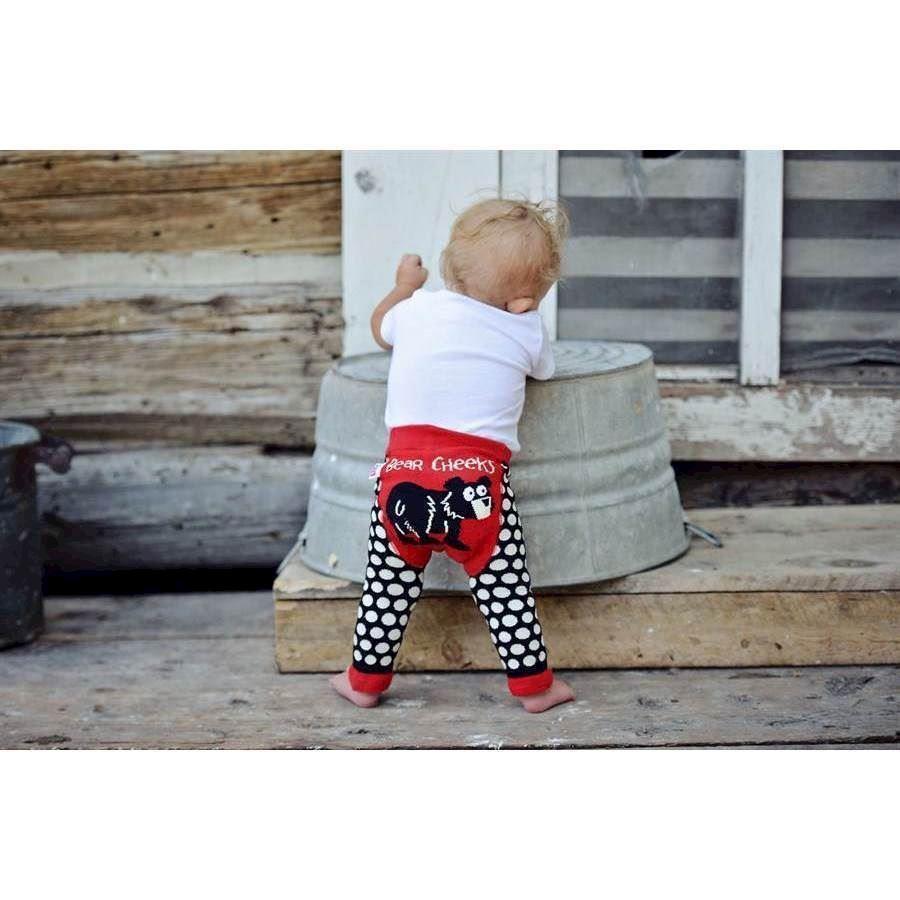 6892eb70ad0c01 Prikkede sorte leggings til børn med sød bjørn bag på