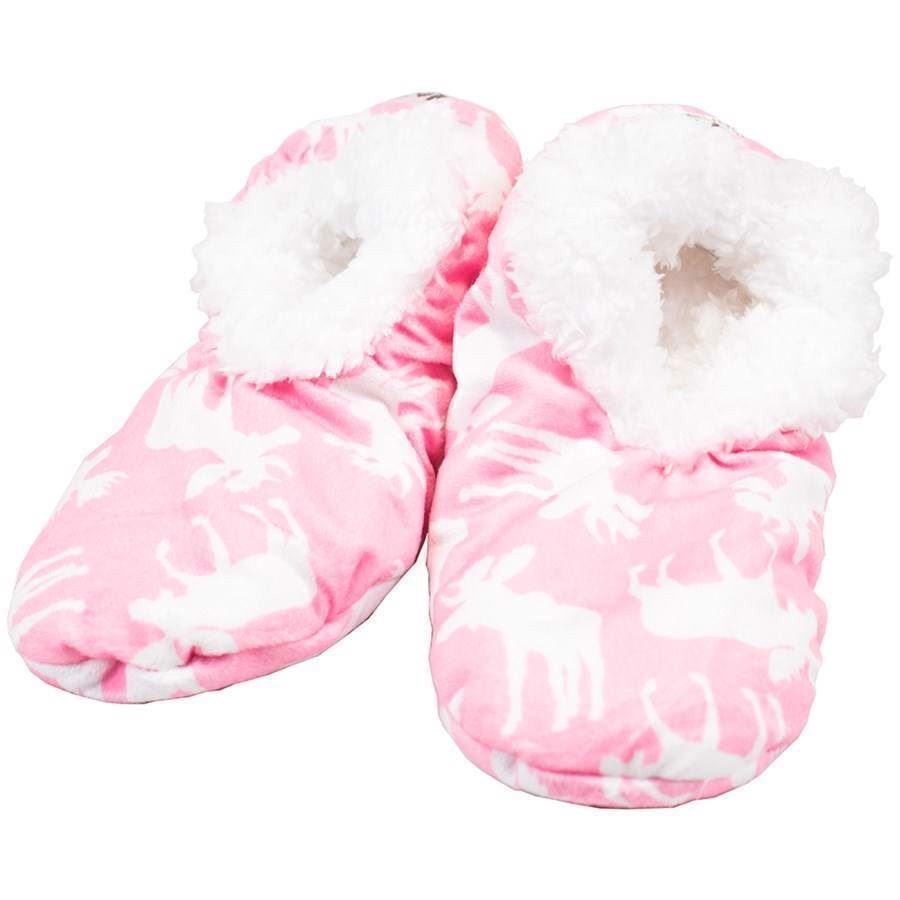 Classic Moose Pink Fuzzy Feet Slippers, Adult Small/Medium