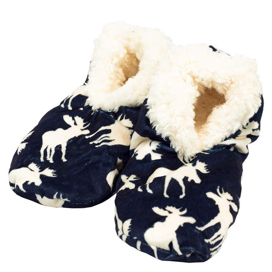 Classic Moose Blue Fuzzy Feet Slippers, Adult Large/XL