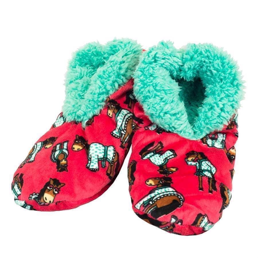 Don´t Do Mornings Horse Fuzzy Feet Slippers, Adult Large/XL
