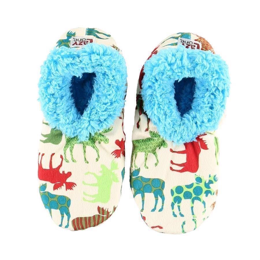 Pattern Moose Fuzzy Feet Slippers, Adult