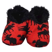 LazyOne Classic Moose Red Fuzzy Feet Slippers