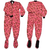LazyOne Don't Moose with Me Girl Pink Footie Onesie Adult