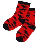 LazyOne Unisex Classic Moose Red Infant Socks