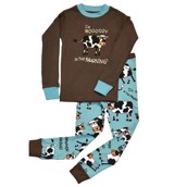 LazyOne Boys Mooody in the Morning Kids PJ Set Long Sleeve