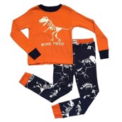 LazyOne Boys Bone Tired Dinosaur Kids PJ Set Long Sleeve