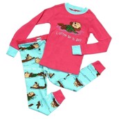 LazyOne Girls I Otter Be in Bed Kids PJ Set Long Sleeve