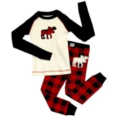 LazyOne Unisex Moose Plaid Kids PJ Set Long Sleeve