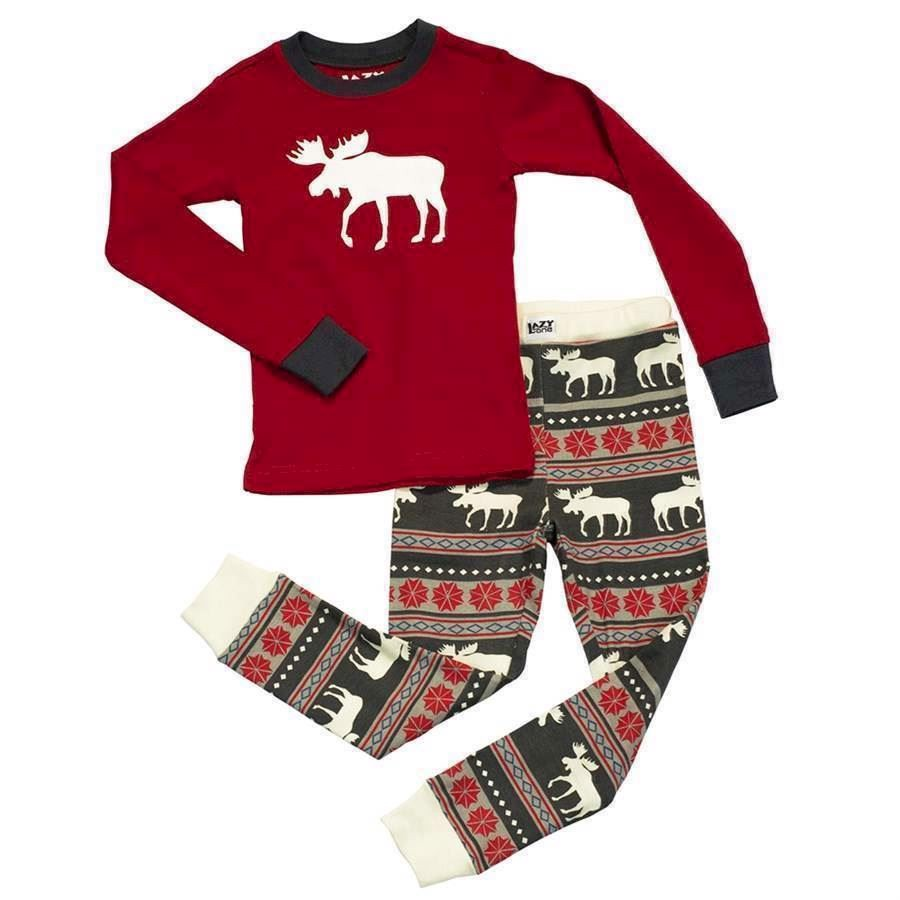 LazyOne Unisex Moose Fair Isle Kids PJ Set Long Sleeve