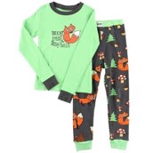 LazyOne Unisex Bright Eyed Bushy Tailed Kids PJ Set Long Sleeve