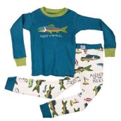 LazyOne Boys Asleep At The Reel Kids PJ Set Long Sleeve