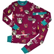 LazyOne Unisex Night Owl Kids Thermal PJ Set Long Sleeve