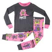 LazyOne Girls Monster In The Morning Kids PJ Set Long Sleeve