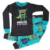 LazyOne Boys Monster In The morning Kids PJ Set Long Sleeve