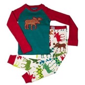 LazyOne Unisex Pattern Moose Kids PJ Set Long Sleeve