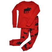 LazyOne Unisex Classic Moose Red Kids PJ Set Long Sleeve