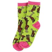 LazyOne Girls Don't Moose with Me Pink/Green Kids Socks