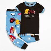 LazyOne Boys Hit the Hay Kids PJ Set Short Sleeve