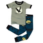 LazyOne Boys Sleep in the Dark Kids PJ Set Short Sleeve