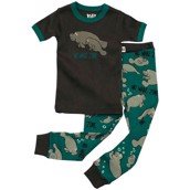LazyOne Boys No Wake Zone Manatee Kids PJ Set Short Sleeve
