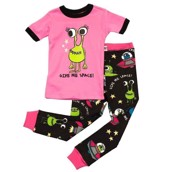 LazyOne Girls Give Me Space Kids PJ Set Short Sleeve