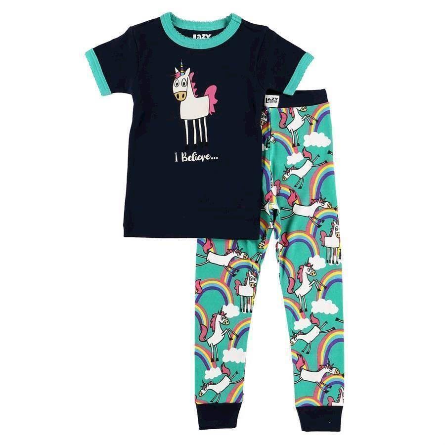 60bd8c878fc LazyOne Girls I Believe Unicorn Kids PJ Set Short Sleeve