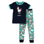 LazyOne Girls I Believe Unicorn Kids PJ Set Short Sleeve