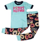 LazyOne Girls Donut Disturb Kids PJ Set Short Sleeve