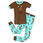LazyOne Boys Don't Moose with Me Kids PJ Set Short Sleeve