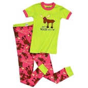 LazyOne Girls Don't Moose with Me Kids PJ Set Short Sleeve