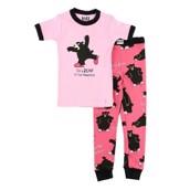 LazyOne Girls Bear in the Morning Kids PJ Set Short Sleeve