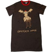 LazyOne Womens Chocolate Moose Nightshirt