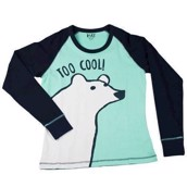 LazyOne Womens Too Cool Long Sleeve Fitted PJ T Shirt
