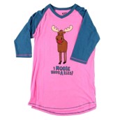 LazyOne Womens Moose Kiss PJ Tall T Shirt Adult
