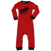 LazyOne Unisex Classic Moose Red Infant Sleepsuit