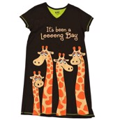 LazyOne Womens Looong Day Giraffe Nightshirt V Neck