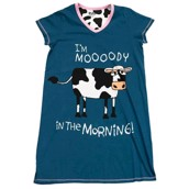 LazyOne Womens Mooody in the Morning Nightshirt V Neck