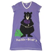 LazyOne Womens Huckle-Beary Nightshirt V Neck