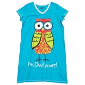 LazyOne Womens I'm Owl Yours Nightshirt V Neck