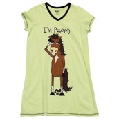 LazyOne Womens I'm Pooped Horse Nightshirt V Neck